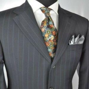BOSS Navy Super 100's Suit 42 R + ZEGNA Tie